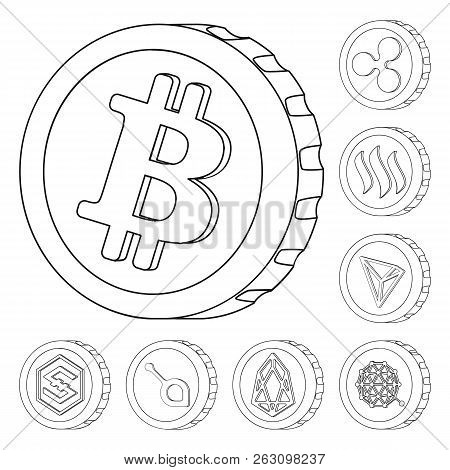 Vector Design Of Cryptocurrency And Coin Symbol. Collection Of Cryptocurrency And Crypto Stock Symbo