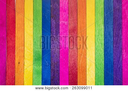 Vintage Colorful Wood Background. Abstract Background For Design With Colorful Wooden Planks ( Ice C