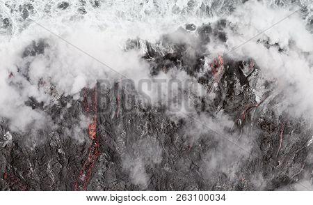 Lava Flow Into The Ocean At Kilauea Active Volcano, Hawaii