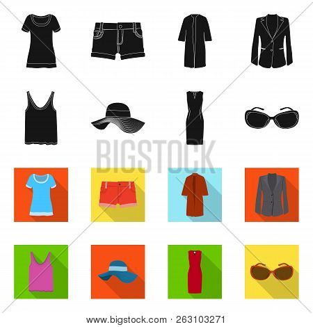 Vector Design Of Woman And Clothing Symbol. Collection Of Woman And Wear Stock Vector Illustration.