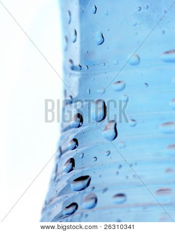 Water drops on plastic bottle poster