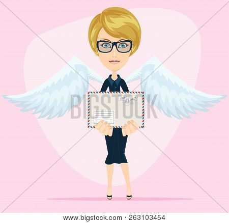 Gorgeous Young Woman As Love Angel With Love Letter. Stock Flat Vector Illustration.