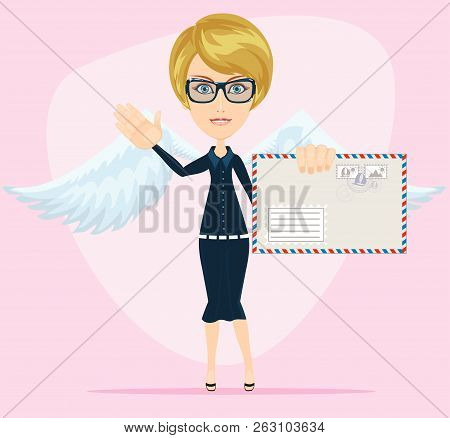 Young Woman As Love Angel With Love Letter. Stock Flat Vector Illustration.