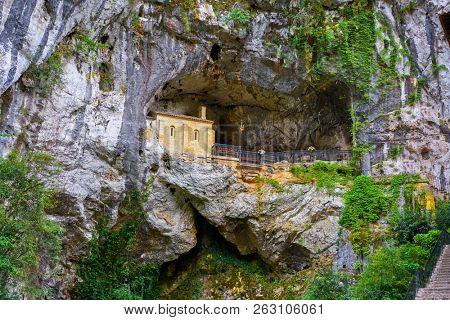Covadonga Santa Cueva a Catholic sanctuary cave in Asturias near Picos europa mountains