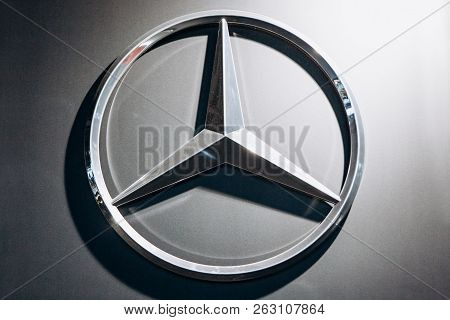 Berlin, August 29, 2018: A Close-up Photograph Of The Mercedes-benz Sign On The Stand In The Officia