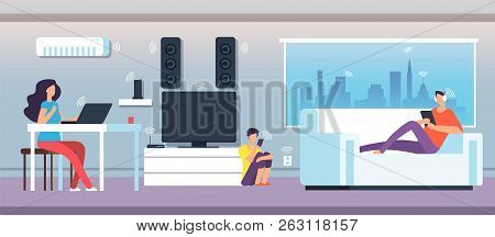 Electromagnetic Field In Home. People Under Emf Waves From Appliances And Devices. Electromagnetic P