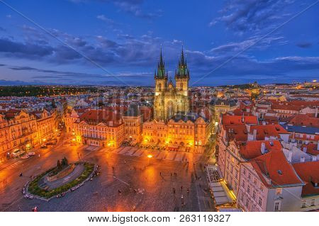 Prague Old Town Square And Church Of Mother Of God Before Tyn In Prague, Czech Republic. Architectur