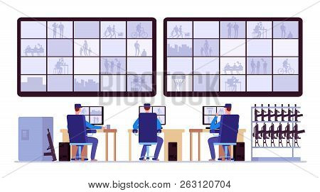 Security Room. Professionals Monitoring In Control Center With Cctv Monitors. Cctv Monitor Center Ro