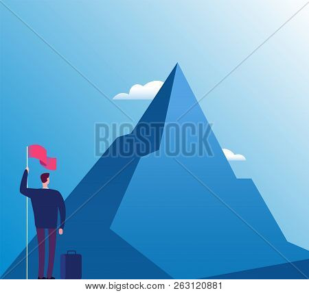 Businessman With Flag At Mountain. New Purpose, Success Vision And Goals Achievement, Business Vecto