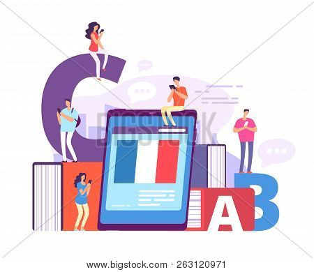 Foreign Language Online Learning. People With Smartphones Studying French With Online Teacher. Educa