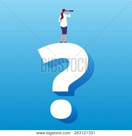 Businesswoman On Question Mark. Unknown Future Journey And Next Decision, Strategy Choice And Busine