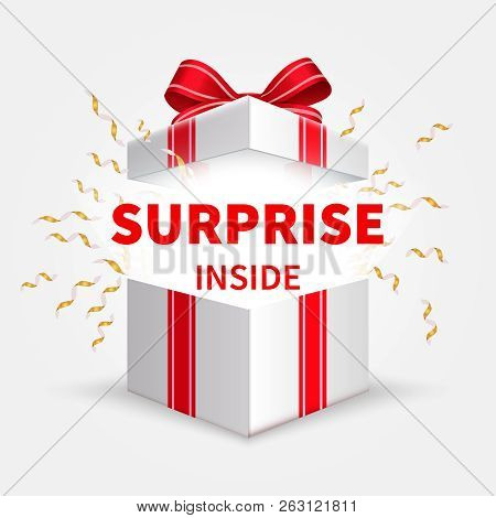 Gift Box With Ribbon. Opening White Box. Birthday Surprise And Christmas Present Vector Concept. Ill