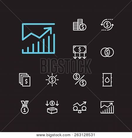 Investment Icons Set. Mutual Funds And Investment Icons With Money Transfer, Petroleum And Investmen