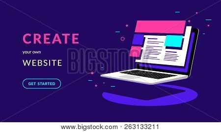 Create Your Own Website Flat Vector Neon Illustration For Web Banner With Text And Button. Isometric