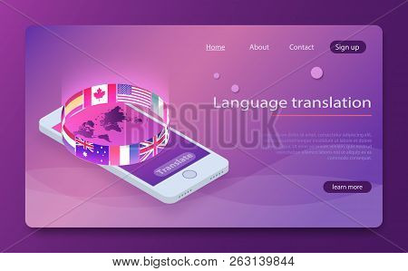 Online Translator Concept Isometric Vector Illustration. Smartphone With Flags Of Different States A