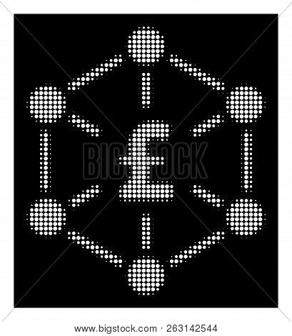 Halftone Dotted Pound Finance Network Icon. White Pictogram With Dotted Geometric Pattern On A Black