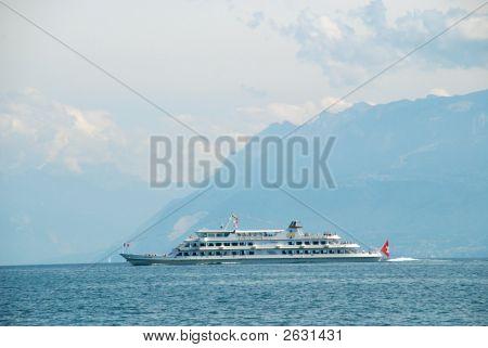 Public Transportaion Boat On The Lake Of Geneva, Switzerland