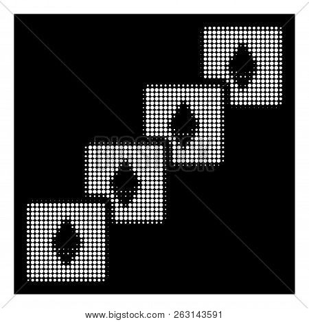 Halftone Dotted Ethereum Blockchain Icon. White Pictogram With Dotted Geometric Pattern On A Black B
