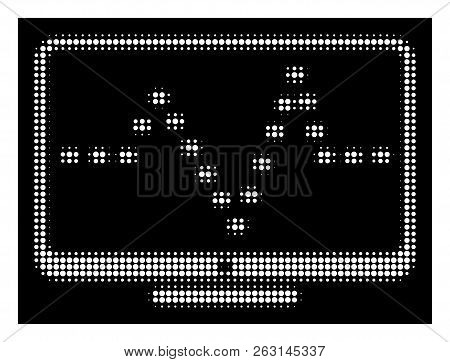 Halftone Pixel Monitor Dotted Pulse Icon. White Pictogram With Pixel Geometric Structure On A Black