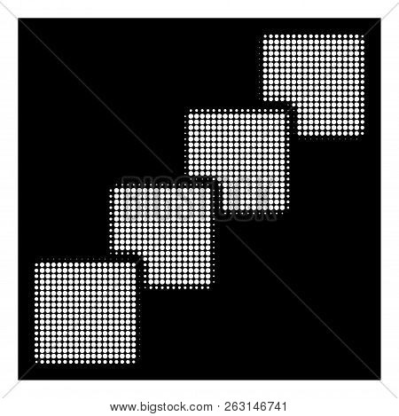 Halftone Dotted Blockchain Icon. White Pictogram With Dotted Geometric Structure On A Black Backgrou