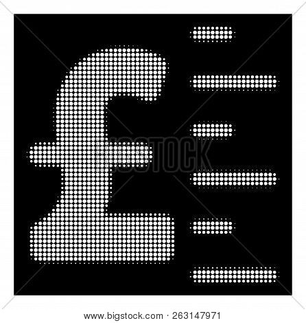 Halftone Pixel Pound Value Icon. White Pictogram With Pixel Geometric Structure On A Black Backgroun