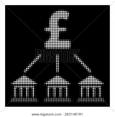 Halftone Dotted Pound Bank Organization Icon. White Pictogram With Dotted Geometric Pattern On A Bla