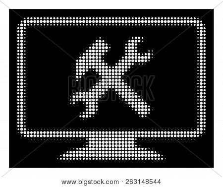 Halftone Dotted Desktop Settings Icon. White Pictogram With Dotted Geometric Structure On A Black Ba