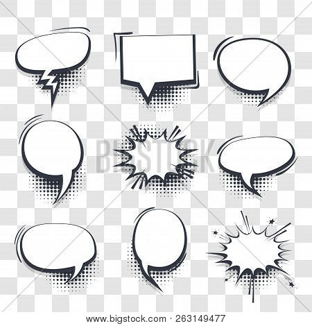 Big Set Hand Drawn Blank Effects Template Comic Speech Bubbles Halftone Dot Vector Transparent Backg