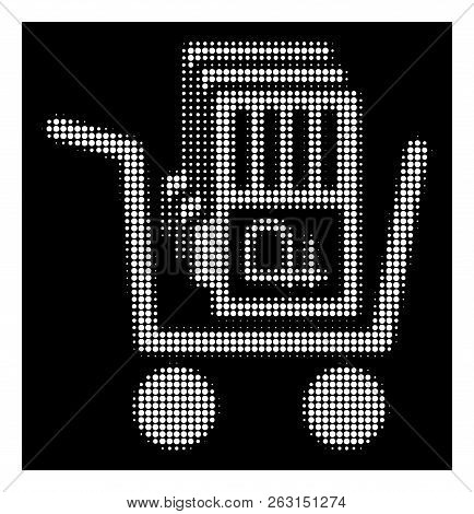 Halftone Dotted Transfer Rouble Accounts Icon. White Pictogram With Dotted Geometric Pattern On A Bl