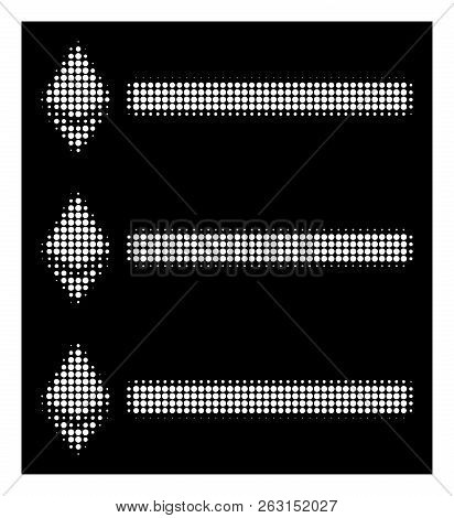 Halftone Pixelated Ethereum List Icon. White Pictogram With Pixelated Geometric Structure On A Black