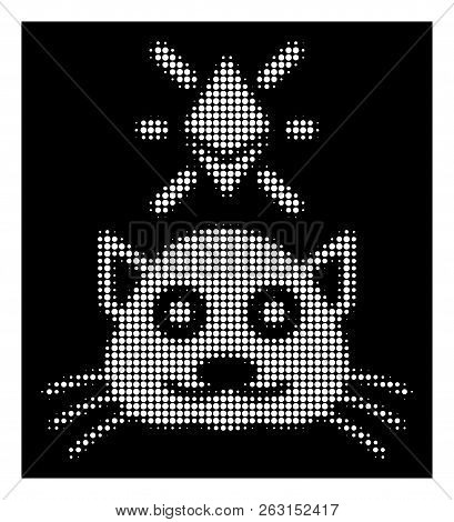 Halftone Pixelated Crypto Kitty Icon. White Pictogram With Pixelated Geometric Structure On A Black