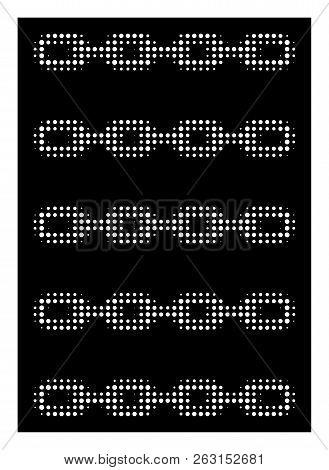 Halftone Pixel Blockchain List Icon. White Pictogram With Pixel Geometric Structure On A Black Backg