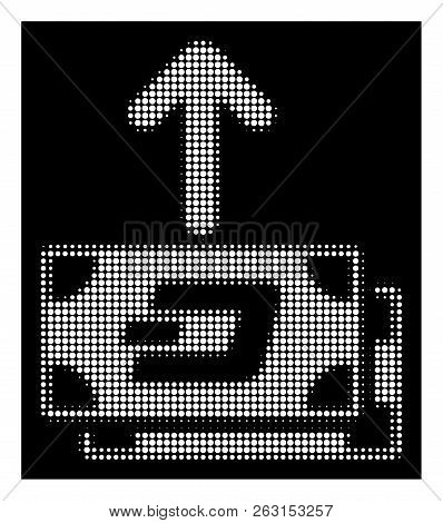 Halftone Pixel Dash Banknotes Pay Out Icon. White Pictogram With Pixel Geometric Structure On A Blac