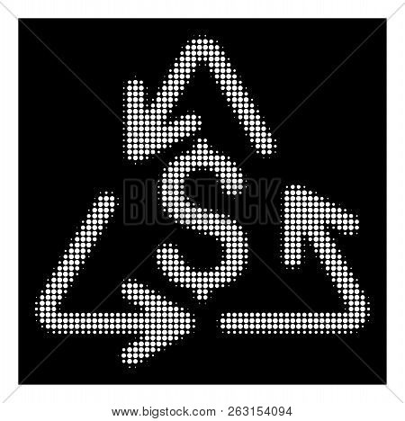Halftone Pixel Recycling Cost Icon. White Pictogram With Pixel Geometric Pattern On A Black Backgrou