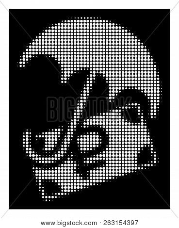 Halftone pixel rouble financial safety icon. White pictogram with pixel geometric pattern on a black background. Vector rouble financial safety icon constructed of rounded pixels. poster
