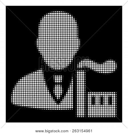 Halftone Dotted Capitalist Oligarch Icon. White Pictogram With Dotted Geometric Structure On A Black