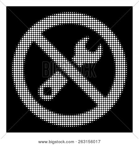 Halftone Pixelated Forbidden Repair Icon. White Pictogram With Pixelated Geometric Structure On A Bl
