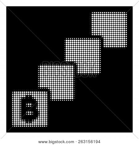 Halftone Pixel Bitcoin Blockchain Icon. White Pictogram With Pixel Geometric Structure On A Black Ba