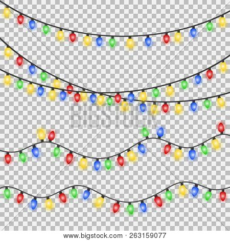 Set Of Xmas Colorful Glowing Garland. Christmas Lights Isolated On Transparent Background. Eps 10 Ve