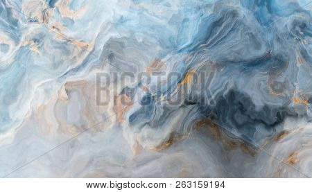 Blue Marble Pattern With Grey And Gold Inclusions. Abstract Texture And Background. 2d Illustration