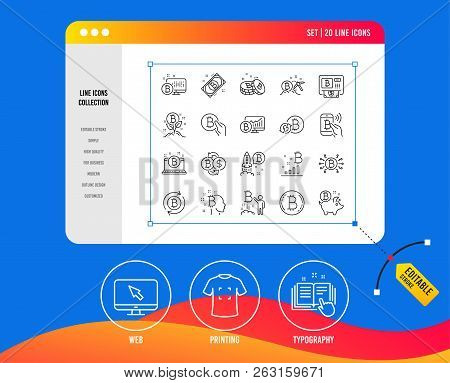 Cryptocurrency Line Icons. Set Of Blockchain, Crypto Ico Start Up And Bitcoin Linear Icons. Mining,