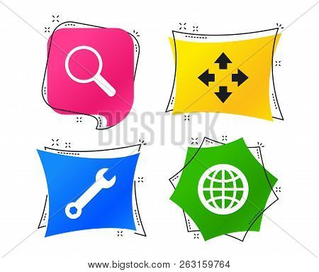 Magnifier Glass And Globe Search Icons. Fullscreen Arrows And Wrench Key Repair Sign Symbols. Geomet