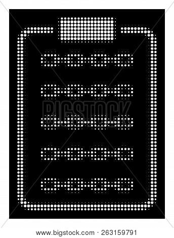 Halftone Pixelated Blockchain List Page Icon. White Pictogram With Pixelated Geometric Pattern On A