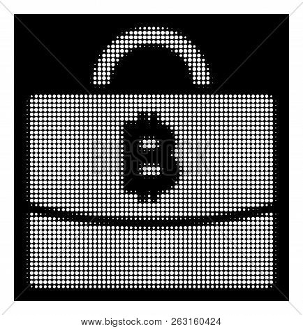 Halftone Pixel Bitcoin Accounting Case Icon. White Pictogram With Pixel Geometric Structure On A Bla