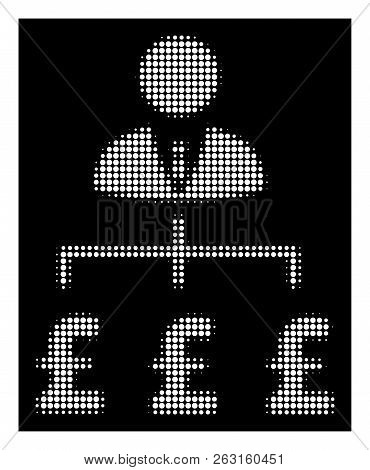 Halftone Pixelated Boss Pound Payments Icon. White Pictogram With Pixelated Geometric Pattern On A B