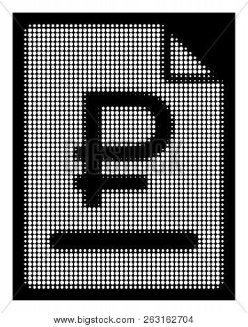 Halftone pixelated rouble bill icon. White pictogram with pixelated geometric structure on a black background. Vector rouble bill icon composed of round dots. poster