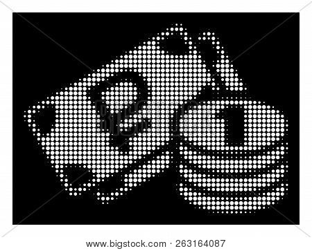 Halftone Pixelated Rouble Cash Icon. White Pictogram With Pixelated Geometric Pattern On A Black Bac
