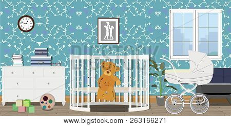 Baby Room Interior. Flat Design. Baby Room With A Commode, Toys, Pram, Window, Baby Cot. Childrens R