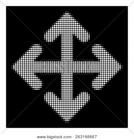 Halftone Dotted Direction Variants Icon. White Pictogram With Dotted Geometric Pattern On A Black Ba