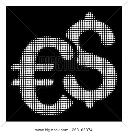 Halftone Dotted Euro And Dollar Currency Icon. White Pictogram With Dotted Geometric Structure On A